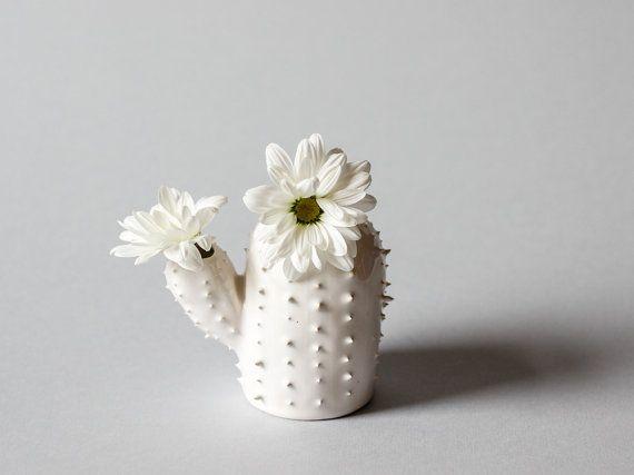 Modern small spiky white vase / cactus shaped succulent vessel / ceramic vase / white / saguaro cactus/ arizona cactus