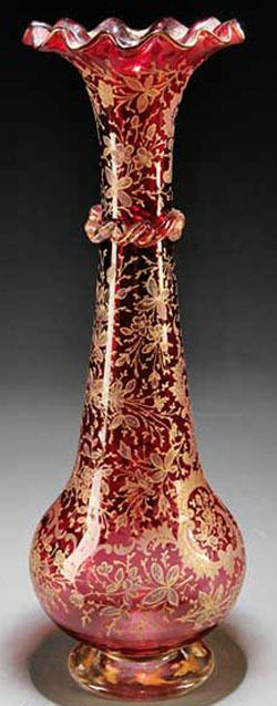 Moser Glass; Vase, Cranberry, Trumpet Form, Flared & Ruffled Lip, Enameled Acant...