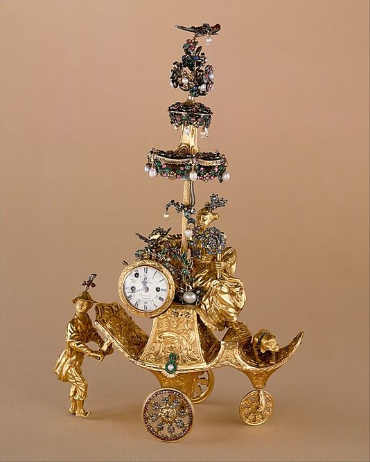 Automaton in the form of a chariot pushed by a Chinese attendant and set with a ...