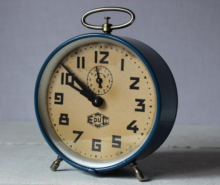 Large Vintage French Petrol Blue JAPY  Alarm Clock
