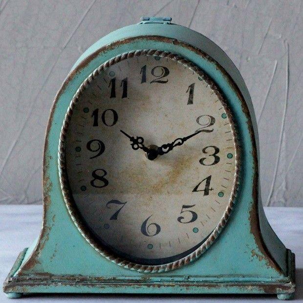 Distressed Metal Table Clock