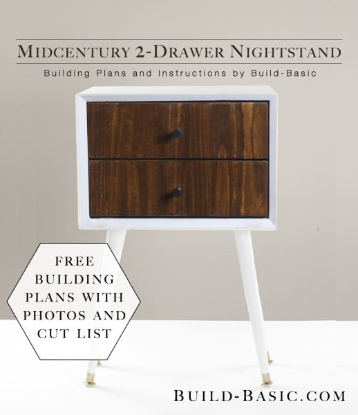 Build a DIY Midcentury 2 Drawer Nightstand - Building Plans by Build Basic www.b...