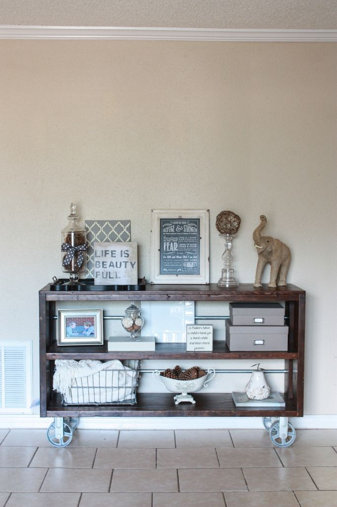 DIY Knockoff Restoration Hardware Wood & Steel Console Table