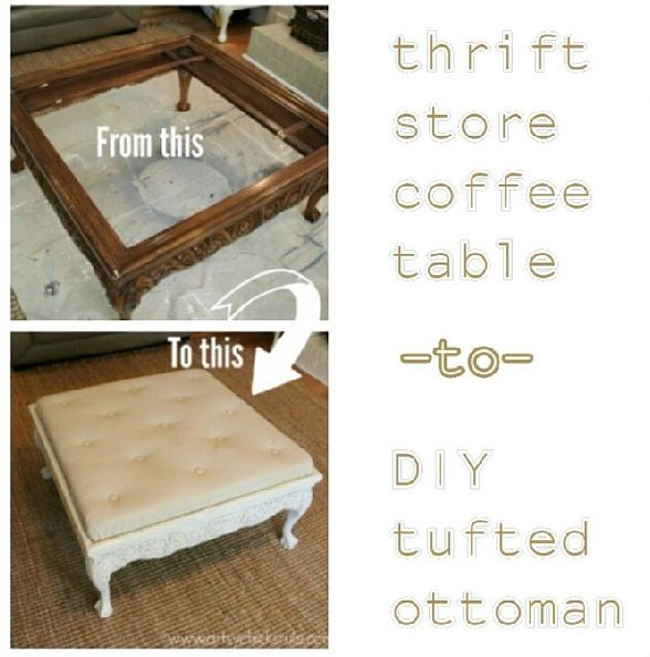 Before and After: Turning a Coffee Table Into a Tufted Ottoman