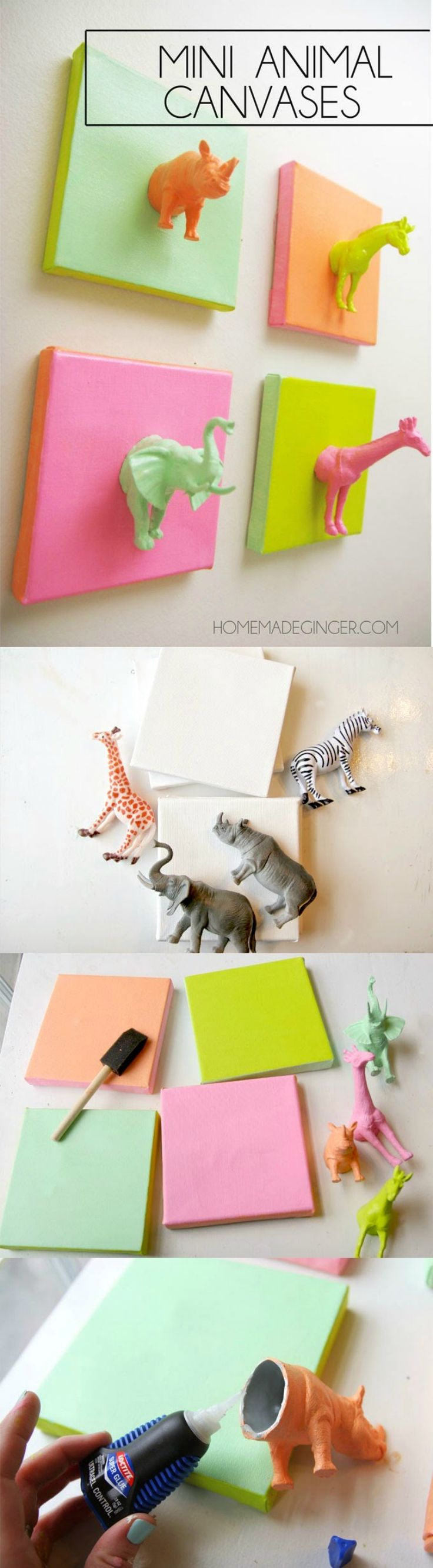 EASY DIY Canvas Art with Plastic Animals