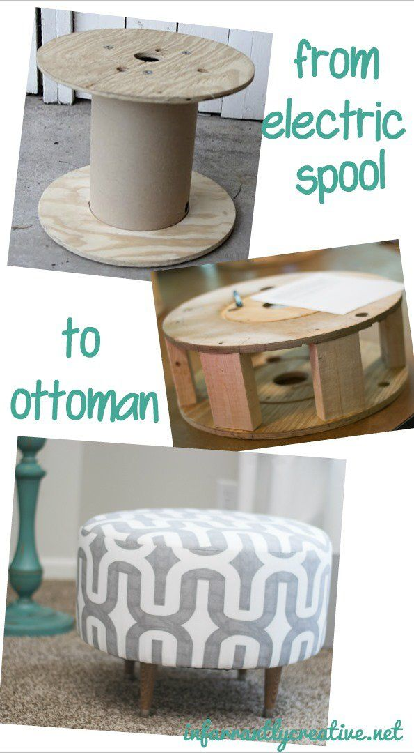 Ottoman Made from an Old Electrical Spool - Infarrantly Creative
