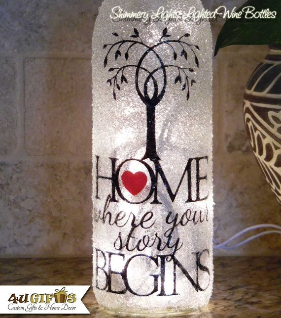 Home  Where Your Story Begins Lighted Wine Bottle Decorated