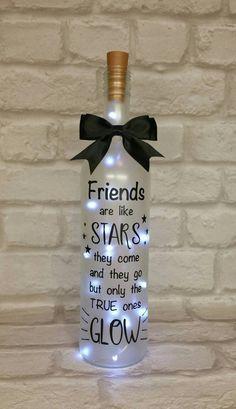 Light up wine bottle gift, friend, birthday gift, Christmas gift, frosted bottle, keepsake, bottle light