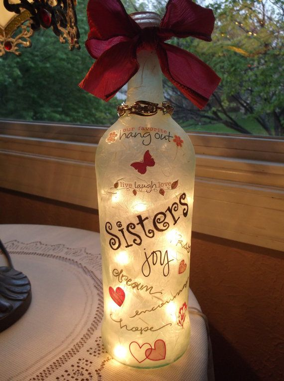 Lighted bottle  Sister or Friend by songbird58 on Etsy