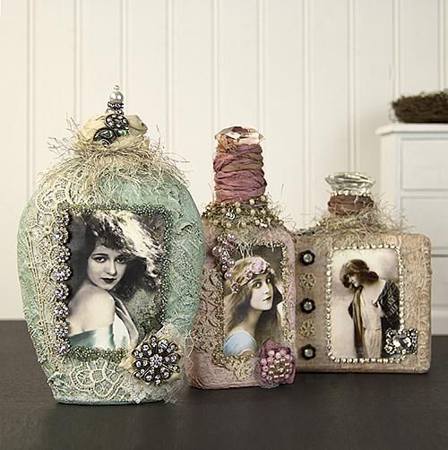 Vintage Altered Shabby Chic Bottles -- Add these shabby chic accents to bedroom ...