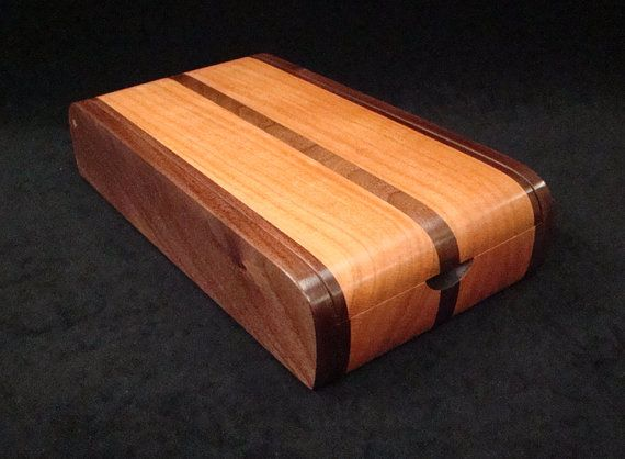 Walnut and Cherry Desk Box by cooperswoodstudio on Etsy