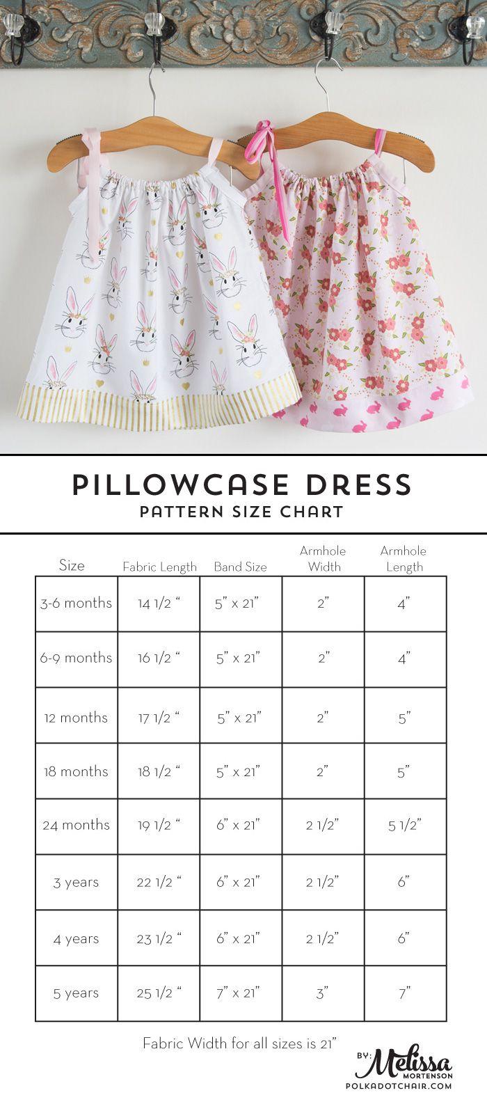 Pillowcase Dress Pattern and Size Chart