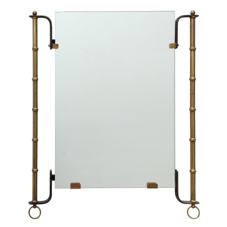 Brass and Leather Mirror by Jacques Adnet | From a unique collection of antique ...