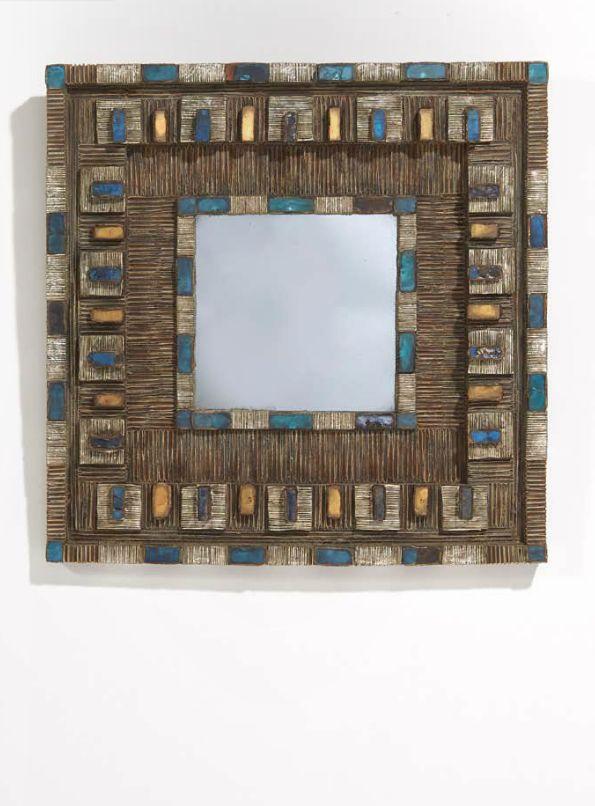 Line Vautrin; Talosel Resin and Pate-de-Verre Wall Mirror, c1950.