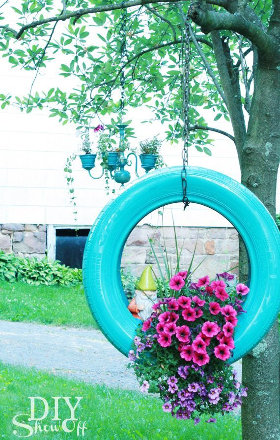Make a DIY Painted Tire Planter from Old Tires