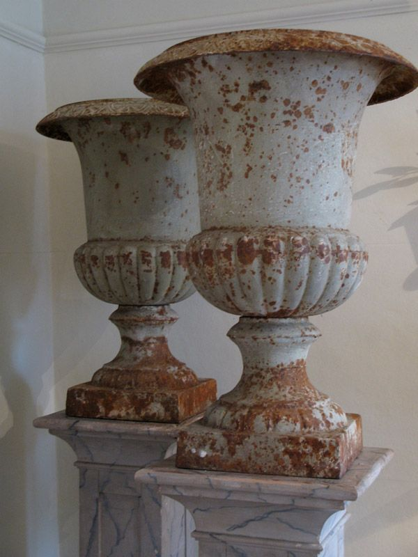 19th Cent English Cast Iron Urns