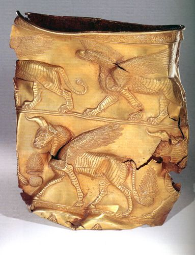 Golden Cup depicting Griffin on top band. Excavated at Marlik, Gilan province of...