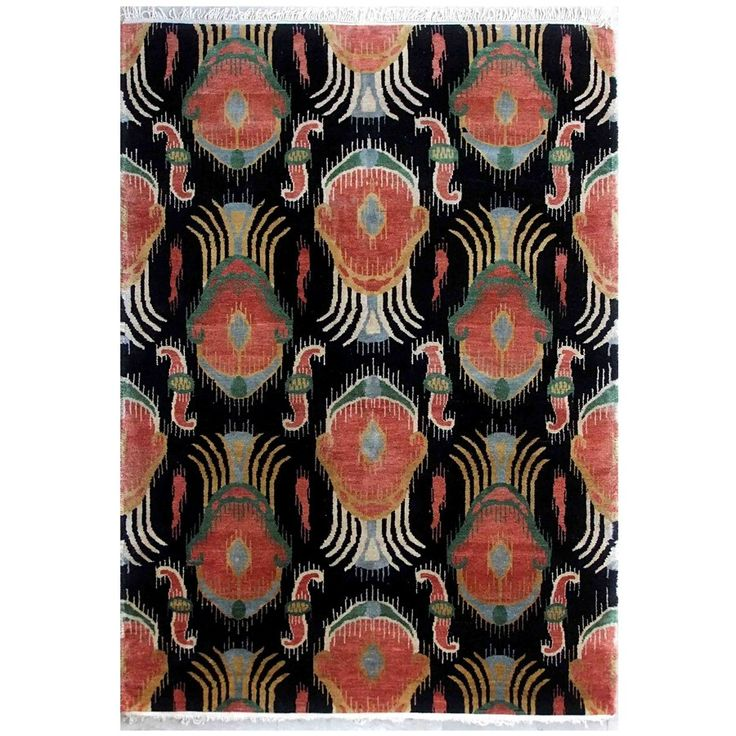 Dovetail Handknotted Rug-Black