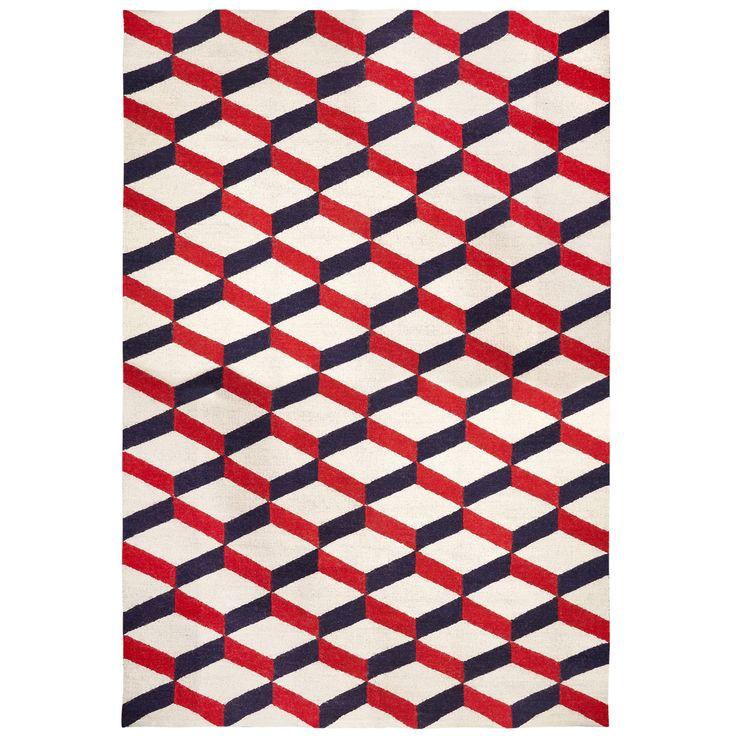 Red Lorenzo Reversible Peruvian Flat Weave Rug