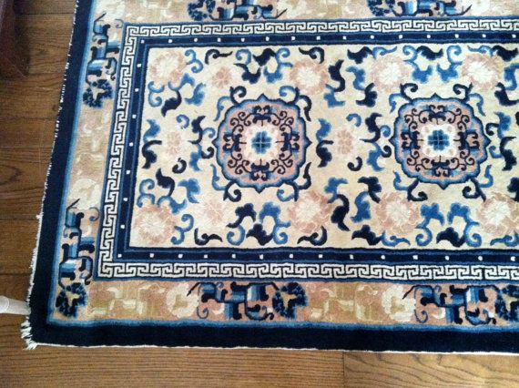 Vintage Oriental Rug with Deep Blues pale Blush by islandattitude, $300.00