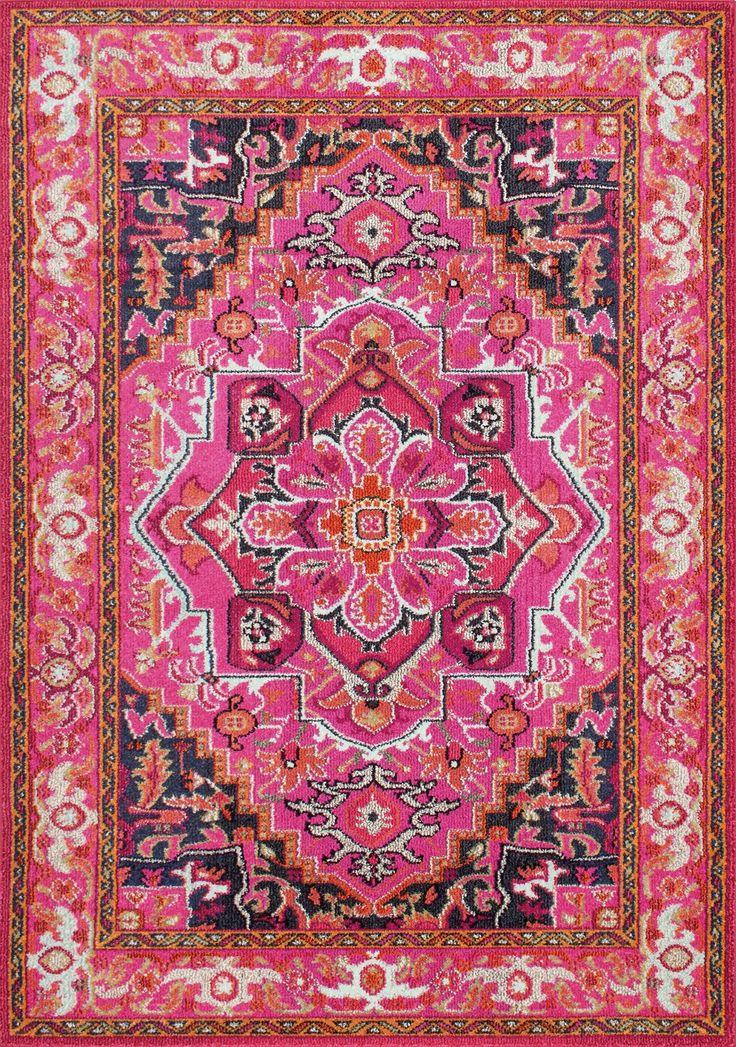 pink vintage rug for dining room