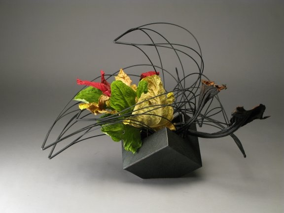 Dry Fig Leaves ikebana by Gordon Ward
