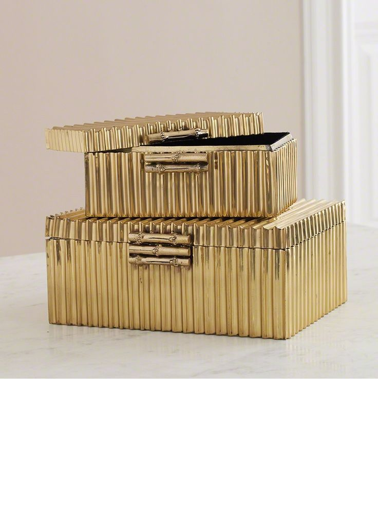 Christmas Gift Ideas, From Hollywood, Luxury Designer Gold Bamboo Jewelry Box, i...