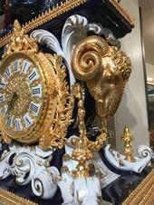 Spectacular Large Porcelain 24k Gilded Clock