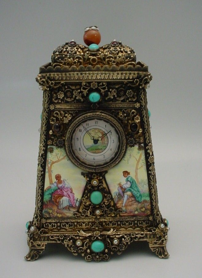 Glorious Antique Austrian Silver Jeweled Clock Music Box World Rarities