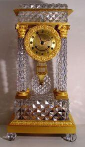Reloj francés del clavo Primer Imperio Encimera de cristal y bronce dorado Pór...
