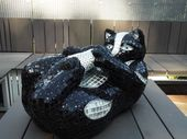 'Chat chic (Playful Black Kitten Mosaic sculpture)' by Nad�ge Gesvres