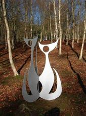 'Three Cats (Steel Abstract Feline Garden statues)' by Pete Moorhouse