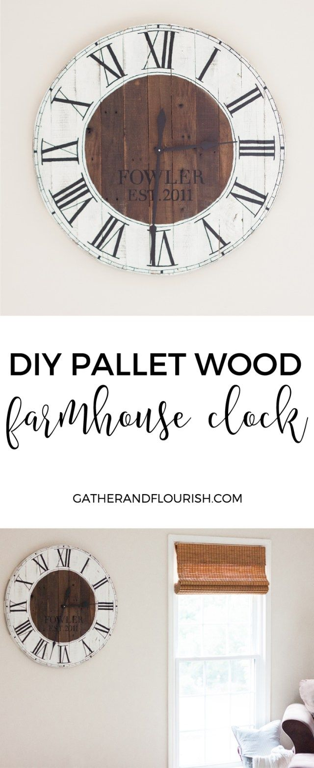 DIY Pallet Wood Farmhouse Clock - Gather and Flourish