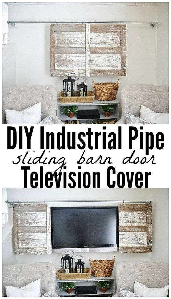 Industrial Pipe Sliding Barn Door TV Cover