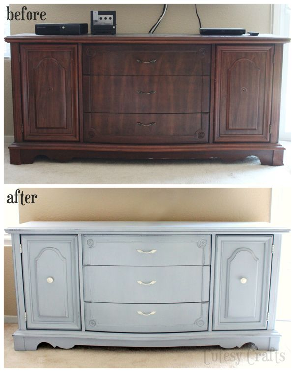 Buffet Table to TV Console - Cutesy Crafts