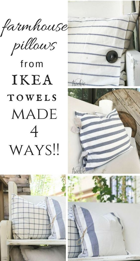 DIY Ikea Tea Towel Farmhouse Pillows 4 Ways!!