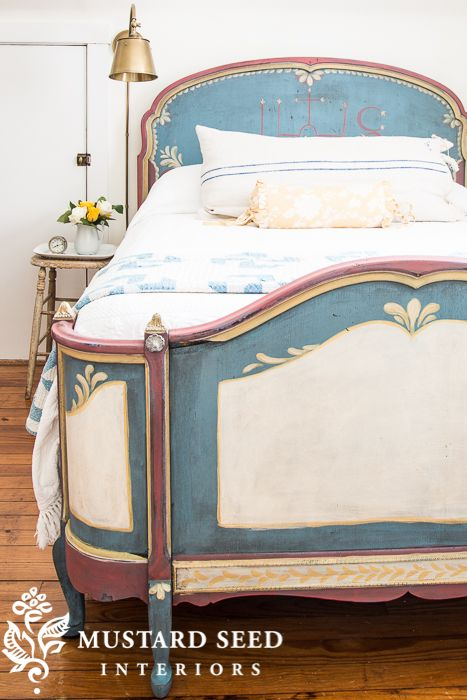 Hand Painted Guest Bed   Miss Mustard Seed's Guest Room   MMS Milk Paint