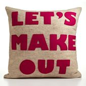 Items similar to LET'S MAKE OUT - recycled felt applique pillow 16 in - more colors available on Etsy