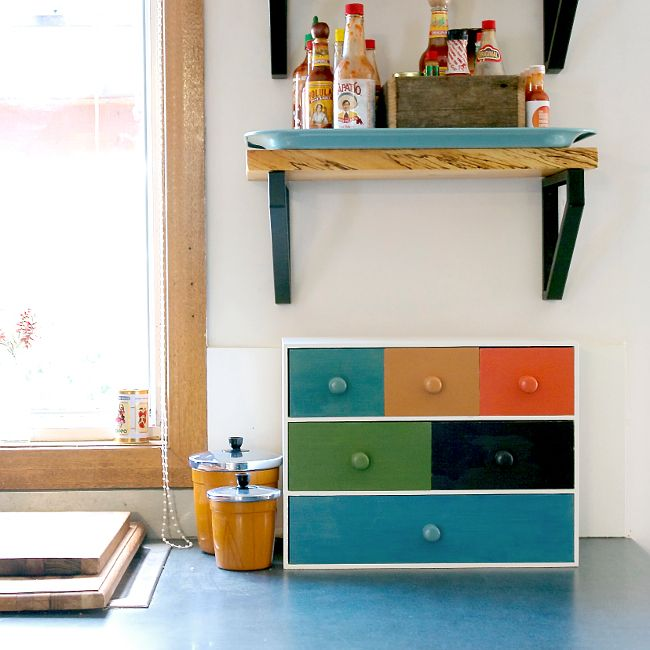 Paint an IKEA storage container to hold tea