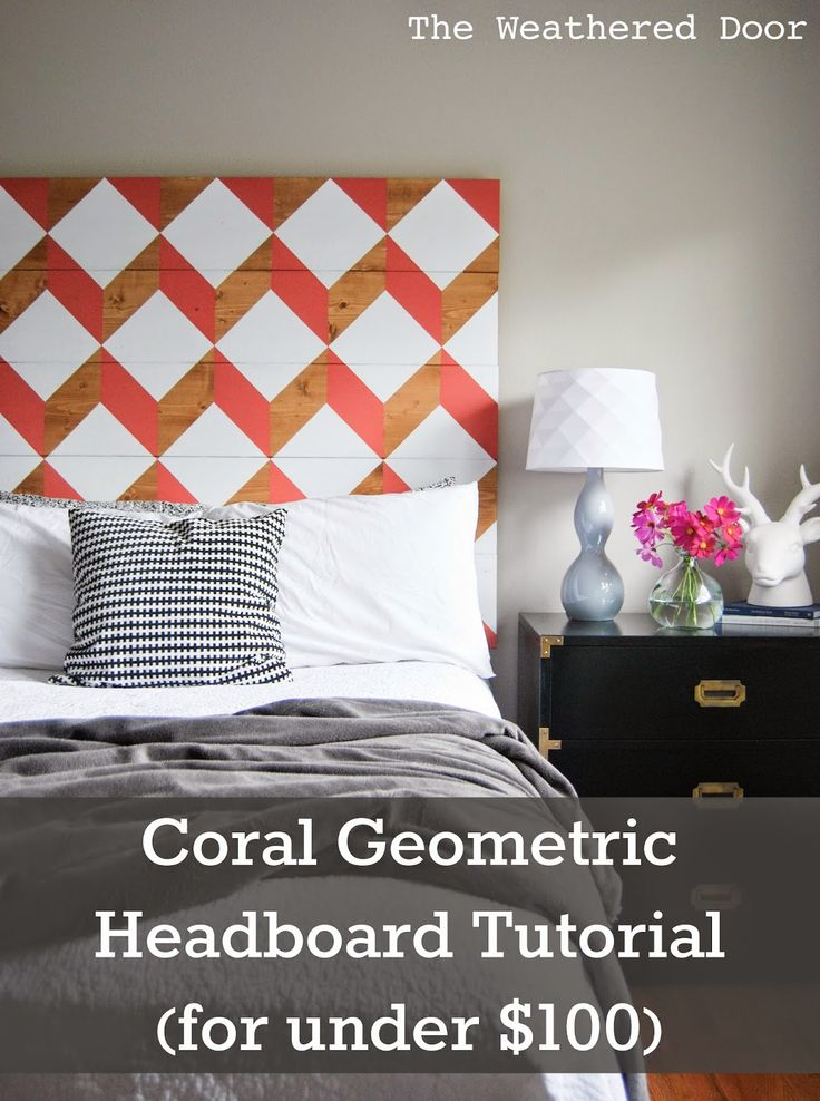 The Weathered Door: DIY Geometric Planked Wood Headboard Tutorial (for under $10...