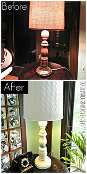 Winter Beach Lodge Living Room Part 1 (Old Sweater Lamp Shade) - Redhead Can Decorate