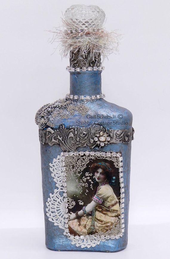 Altered Bottle, Altered Art Bottle, Free Shipping,  Decorative Bottle, Romantic Vintage Style