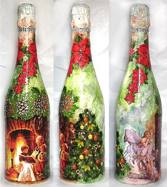 Xmas bottles - decoupage