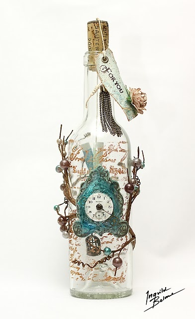altered bottle - -Wouldn't this be a great gift if you filled it with say, bath ...