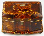 Antique English Victorian Tortoise Shell Tea Caddy, Exceptionally Beautiful old ...