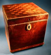 Antique Inlaid Decorative Chess Board Game Wooden Tea caddy Box - www.busaccagal...