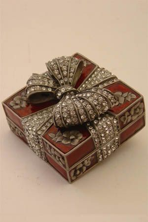 Faberge Style, box with bow.; silver, enamel and diamonds.