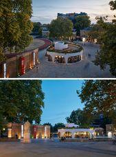 Exterior Lighting Highlights The Design Of This Modern Restaurant