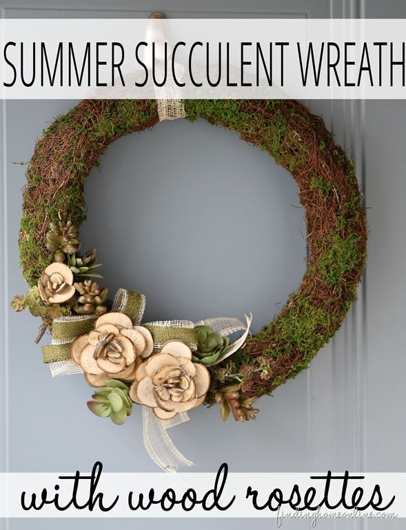 Summer Succulent Wreath with Wood Slices - Infarrantly Creative