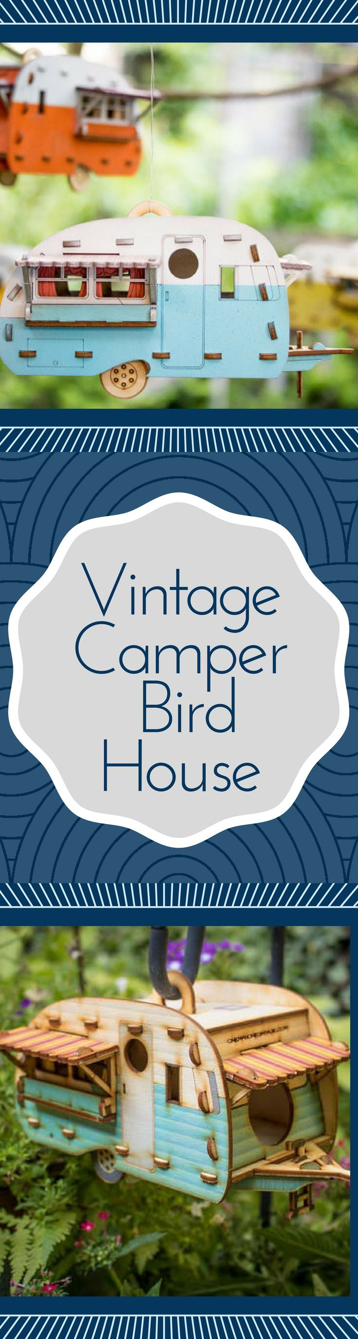 Vintage Camper Bird House. Scale model playset you can build and use! Bring back...